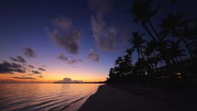 Soluppg?ng ?ver den tropiska ?stranden och palmtr?d dominikansk puntarepublik f?r cana lager videofilmer