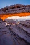 Soluppgång Mesa Arch, Canyonlands nationalpark Fotografering för Bildbyråer
