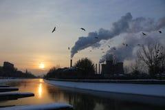 Soluppgång på floden i vinter Arkivfoton