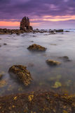 Soluppgång på Playa de Portizuelo Arkivbilder