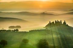 Soluppgång över gräsplanfälten i Tuscany Arkivfoto