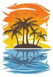 Soluppsättning i strandillustrationen Arkivbild