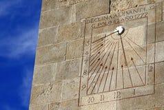 Solur på en vägg i slott av Montjuic i Barcelona, Spanien Arkivbilder