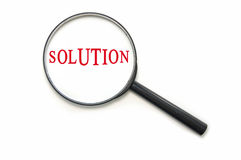 Solution. The word solution through a magnifying glass Stock Image