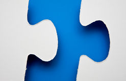Solution. Two puzzle pieces that fit together - complete solution Royalty Free Stock Photography