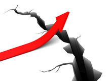 Solution. 3d illustration of red arrow and crack in earth, right solution concept Stock Photography