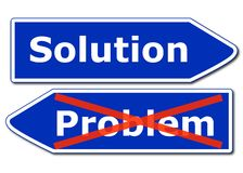 Solution. Or problem concept with roadsign isolated on white background Royalty Free Stock Photos