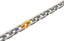 Solution. Chain with one Orange link Stock Photos