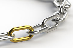 Solution. Chain with one Golden link Stock Image
