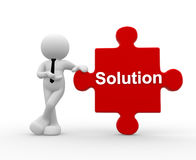 Solution. 3d people - man, person with pieces of puzzle and word Solution Royalty Free Stock Image