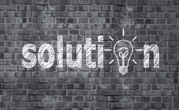 Solution. Drawing solution on brick wall stock photos