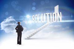 Solution against steps leading to closed door in the sky Royalty Free Stock Photography