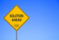 Solution ahead. Sign indicating solutions for problems are ahead and recommended to increase speed Royalty Free Stock Image