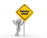 Solution ahead. 3d people - man, person holding road sign of solution ahead Royalty Free Stock Photo