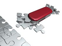 Solution for all. Metaphoric Swiss puzzle-knife with all necessary shapes for all situation Stock Photos
