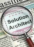 Solution Architect Join Our Team. 3D. Newspaper with Jobs Solution Architect. Solution Architect - CloseUp View Of A Classifieds Through Magnifying Lens. Hiring Stock Images