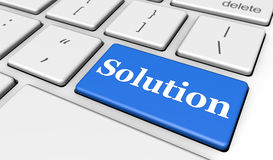 Solution It Business Keyboard Button. Solution sign and letters on a blue computer keyboard for blog and web business concept 3d illustration Stock Photo