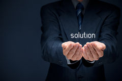 Solution. Businessman or consultant give you a business solution Royalty Free Stock Image