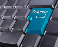Solution button. Keyboard with blue color Stock Image