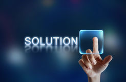 Solution button. Hand pressing virtual solution button Stock Photos