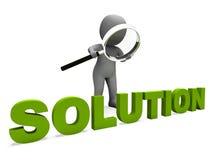 Solution Character Shows Achievement Resolution Succeed And Solved. Solution Character Showing Achievement Resolution Succeed And Solved vector illustration