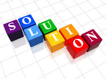 Solution in colour. 3d colour boxes with text - solution, word Stock Photo
