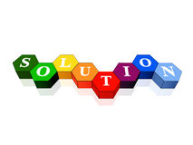 Solution in colour hexahedrons. 3d colour cubes hexahedrons with white letters - solution, word, text Stock Photos