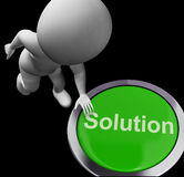 Solution Computer Button Shows Success And Strategies Royalty Free Stock Images