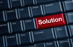 Solution concept. With blue keyboard button Royalty Free Stock Image