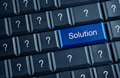 Solution concept. With blue keyboard button Royalty Free Stock Images