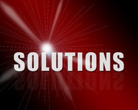 Solution concept. Solution 3d text in a nice background with reflecion Stock Photos