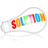 Solution. Concept with bright electric light bulb on white background stock illustration
