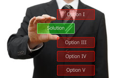Solution concept, businessman choosing right solution.  Royalty Free Stock Photography