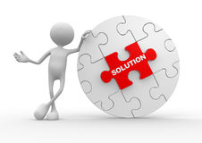 Solution concept. 3d people - man, person and pieces of puzzle. Solution concept Stock Photography