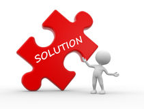 Solution concept. 3d people - man, person with pieces of puzzle and word Solution Stock Photos