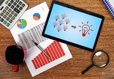 Solution concept. Digital tablet with solution concept on the table businessman Stock Images