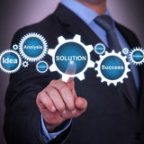 Solution Concept Gear on Touch Screen royalty free stock image