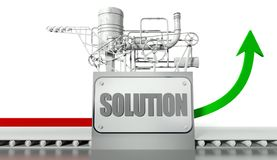 Solution concept with graph and machine. Solution concept with graph arrow and machine Stock Images