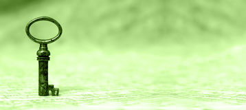 Solution concept in green. Key - success and solution concept website banner in green Stock Photography