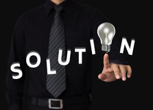 Solution concept. Idea or innovation change problem to solution concept Stock Image