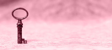 Solution concept in pink. Key - sucess and solution concept website banner in pink Stock Photos