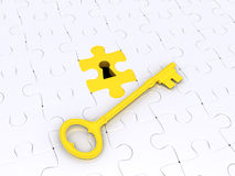 Solution concept with puzzle pieces and key. 3d golden key on white puzzle pieces with keyhole Stock Photography