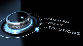 Solution Concept. Solution switch positioned on the word solutions over black and blue background. Concept of problem solving Stock Photos