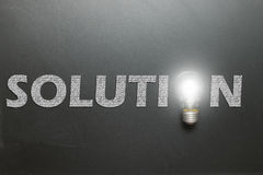 Solution concept using lightbulb Royalty Free Stock Photography