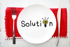 Solution concept on white plate with fork and knife Royalty Free Stock Image