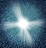 Solution From Confusion. With a three dimensional maze or labyrinth in perspective and a shinning white freedom hole opening as a concept of business or life Stock Images