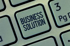Solution d'affaires des textes d'écriture de Word Concept d'affaires pour les services qui incluent la planification stratégique  photos libres de droits