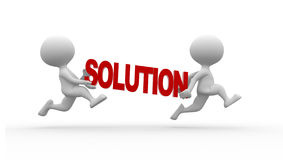 Solution. 3d people - man , person running and word solution Royalty Free Stock Photos