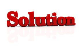Solution in 3d. Red solution word in 3d Royalty Free Stock Photo