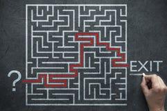 Solution d'un problème de labyrinthe Photographie stock